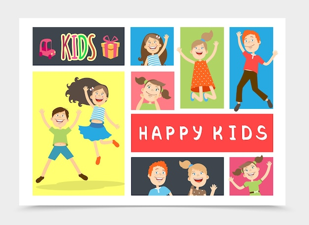 Composição colorida de crianças planas felizes