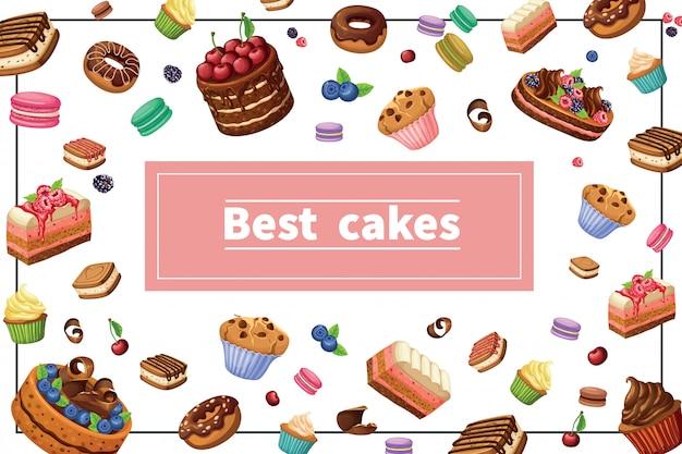 Composição colorida de doces dos desenhos animados com fatias de torta de bolos bolinhos de bolinhos bolinhos macaroons bagas e nozes no quadro
