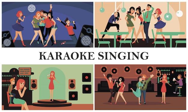 Composição colorida de festa plana de karaokê com homens e mulheres felizes cantando karaokê no clube