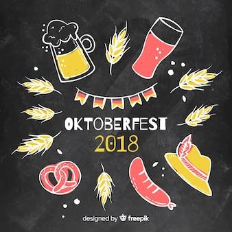 Composição colorida de oktoberfest com estilo de quadro-negro