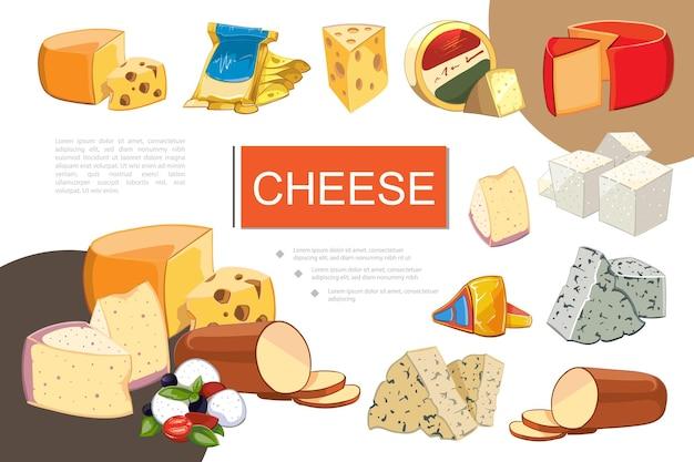 Composição colorida de queijo cartoon com queijo mussarela cheddar gouda feta grano padano raclette maasdam dorblu danablu tipos de queijo defumado