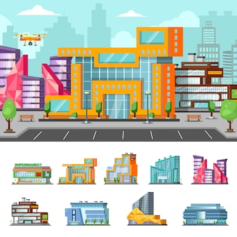 Composição colorida de shopping center
