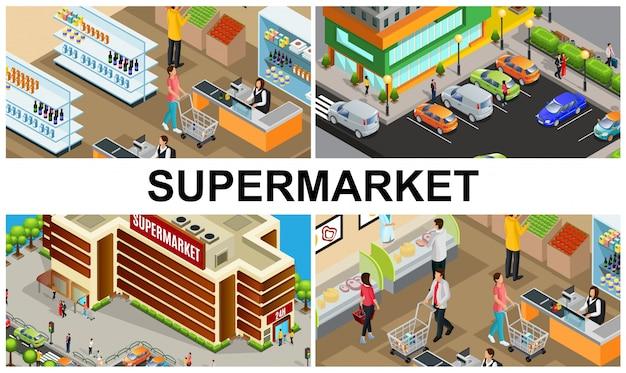 Composição colorida de supermercado isométrica com pessoas que compram produtos em caixas de hall de loja estacionamento perto do edifício do shopping