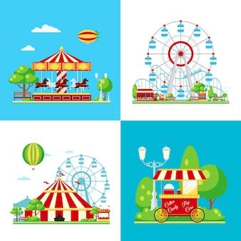 Composição colorida do parque de diversões