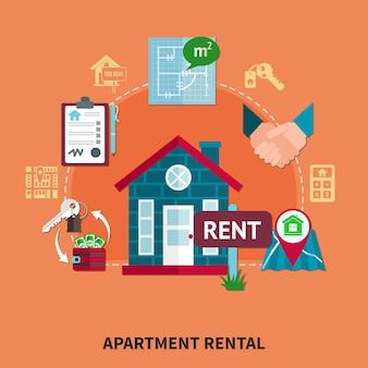 Composição colorida imobiliária com descrição do aluguel do apartamento