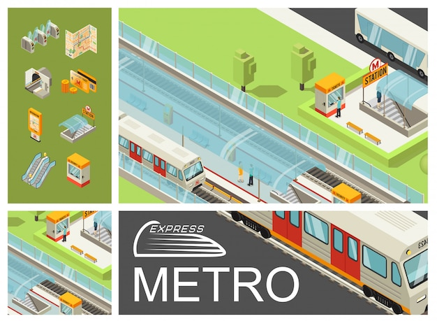 Composição colorida isométrica metro com passageiros de estação de metrô trens cartões de viagem de barramento de ônibus cartões de mapa placa de informações de torniquetes de túnel rolante