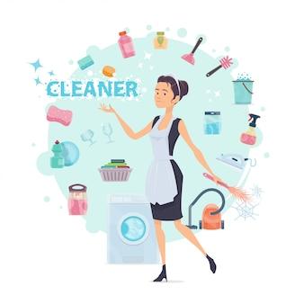 Composição colorida redonda de limpeza