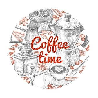Composição com coffeepot cezve moedor de café copo jarro de leite colher de sobremesa grãos de café