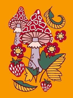 Composição com cogumelos e flores estilo folk