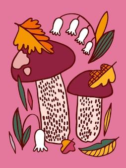 Composição com cogumelos e flores no estilo folk