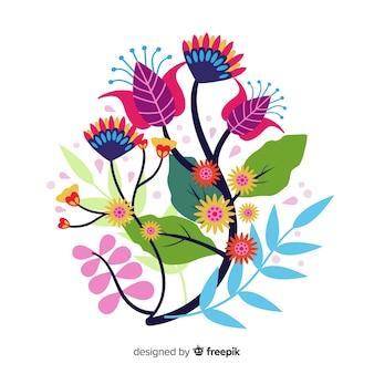Composição com flores em flor e galhos com folhas
