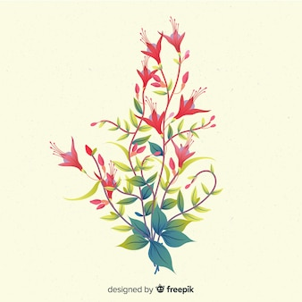 Composição com flores em flor e galhos em tons de vermelho