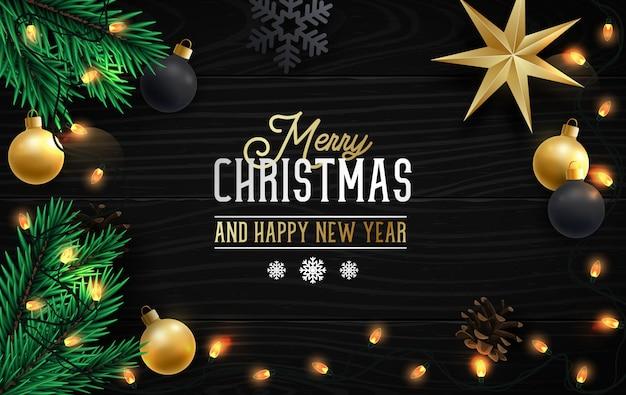Composição com galhos de pinheiro realista e cartão de felicitações de decoração de natal