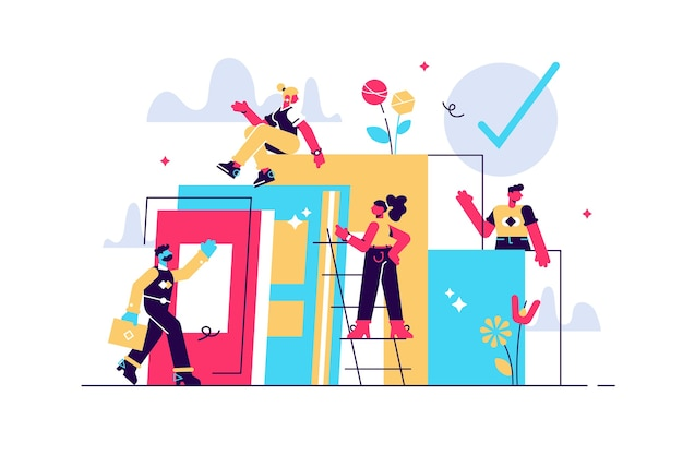 Composição com grupo de gerentes, funcionários ou funcionários de escritório subindo juntos e apoiando uns aos outros