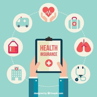 Composição com ícones do seguro de saúde