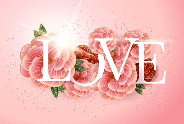 Composição com inscrição de amor e elementos abstratos de flores.