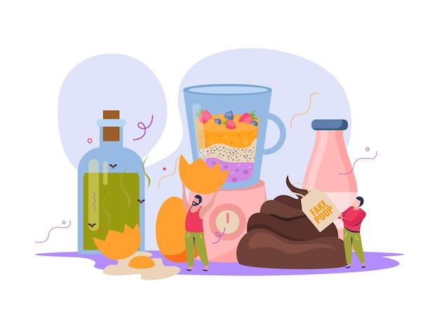 Composição com personagens humanos brincando com bebidas falsas e comida com cocô