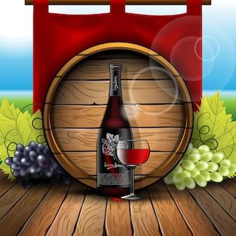 Composição com uma garrafa e um copo de vinho no contexto de barricas com uvas nas laterais em um piso de madeira.