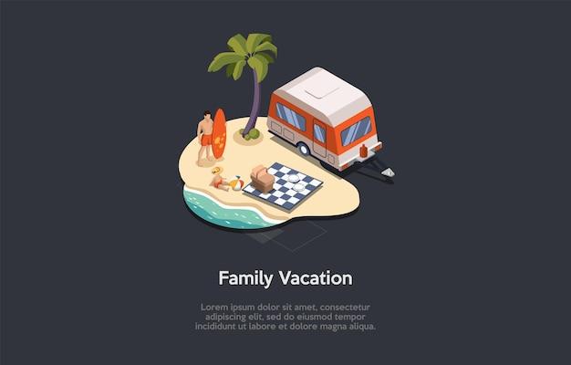 Composição conceitual de férias em família no mar