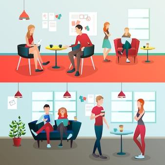 Composição criativa do interior do coworking