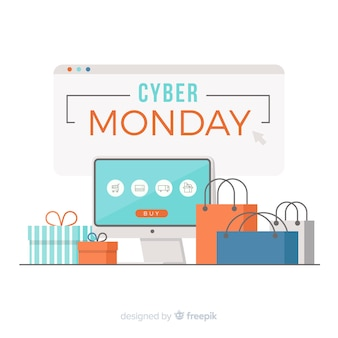 Composição cyber segunda-feira com design plano