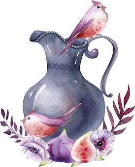 Composição da aquarela com frasco vintage, flores brancas e roxas, folhas e figos.
