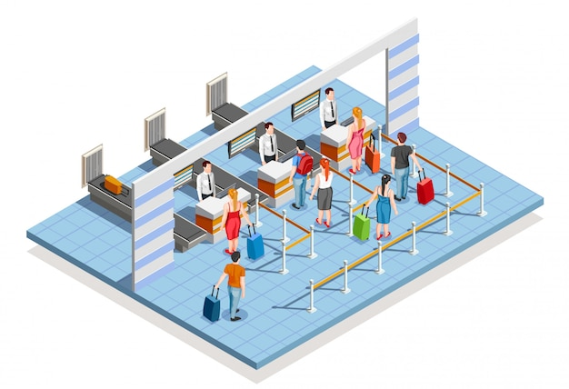 Composição da área de check-in do aeroporto