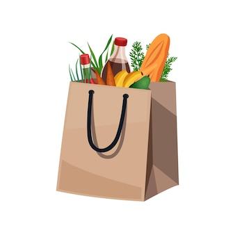 Composição da cesta de sacola de compras com imagem isolada de produtos alimentícios em sacola de papel