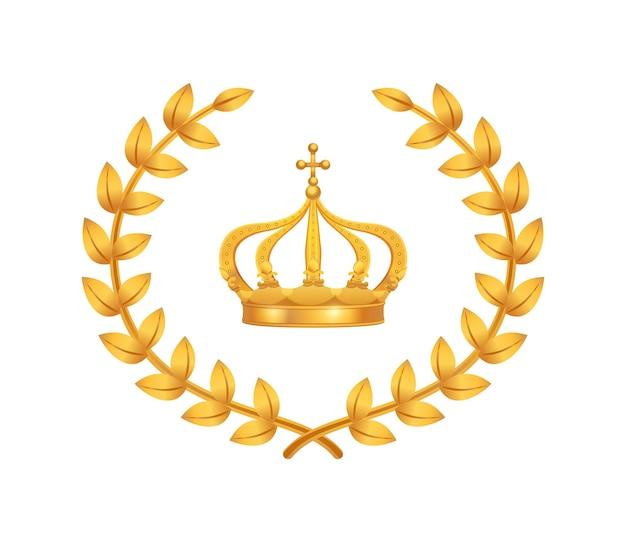 Composição da coroa real com imagem plana da coroa cercada por coroas de louro douradas