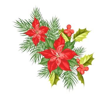 Composição da flor vermelha da poinsétia isolada sobre o branco.