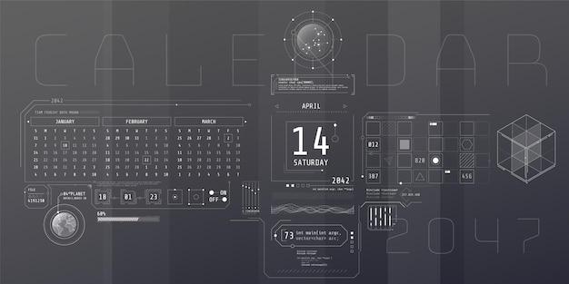 Composição da interface do hud do computador com o calendário.