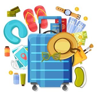 Composição da mala de viagem com ilustração de roupas e acessórios de turistas