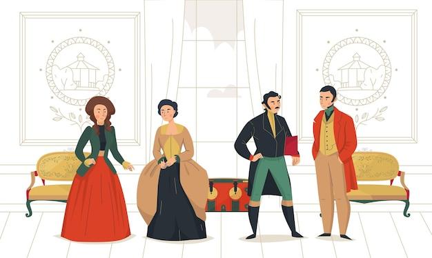 Composição da moda do povo vitoriano do século 18 com cenário interno de salão aristocrático com gente medieval