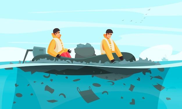 Composição da poluição da água da natureza com personagens rabiscados de colecionadores em um barco inflável de borracha com lixeiras