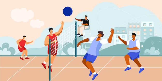 Composição da quadra de vôlei de cenário ao ar livre com paisagem urbana e jogadores de equipe com ilustração de árbitro sentado e na rede
