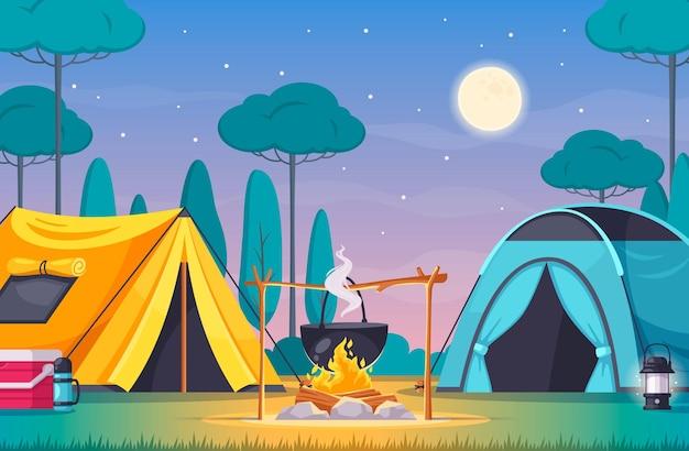 Composição de acampamento com duas tendas acendem uma caixa térmica com árvores e desenhos animados do céu noturno