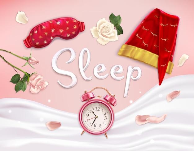 Composição de acessórios para dormir de imagens realistas com flores de linho macio e despertador com texto editável