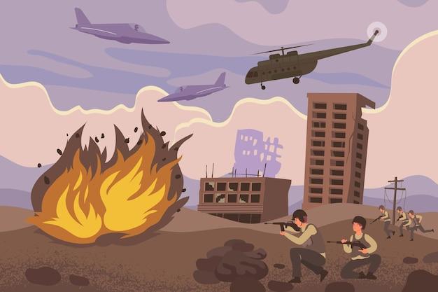 Composição de ações militares com ataque militar ou explosões ofensivas e helicópteros