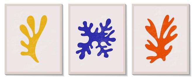 Composição de algas geométricas em matisse abstrata contemporânea na moda
