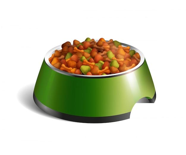 Composição de alimentos secos para tigela de cachorro