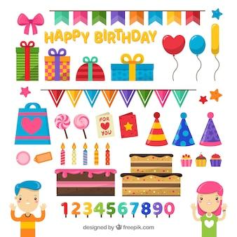 Composição de aniversário colorida com estilo encantador