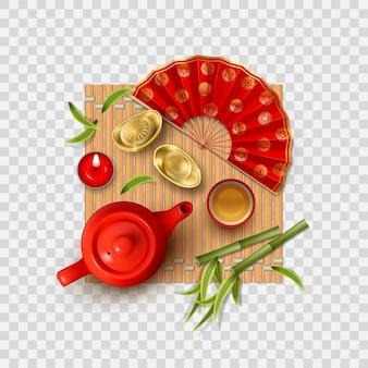 Composição de ano novo chinês com xícara de bule e leque
