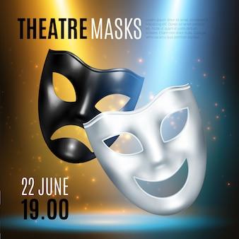 Composição de anúncio de máscaras teatrais