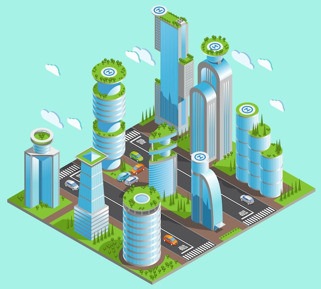 Composição de arranha-céus futurista isolada e isométrica com muitos edifícios de escritórios no centro da cidade