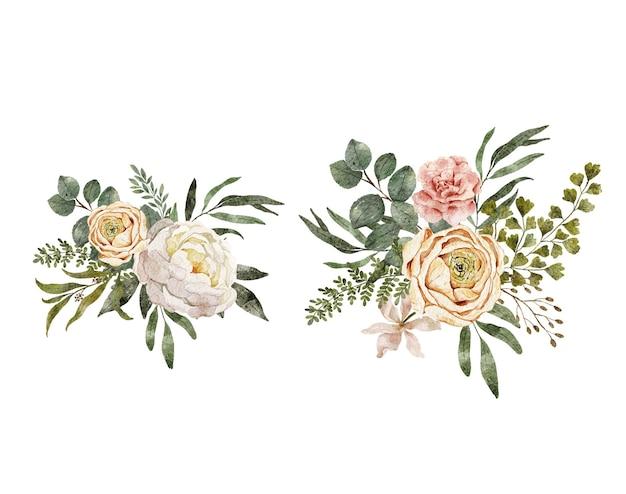 Composição de arranjos florais em aquarela. flores desabrochando folhas e galhos em aquarela