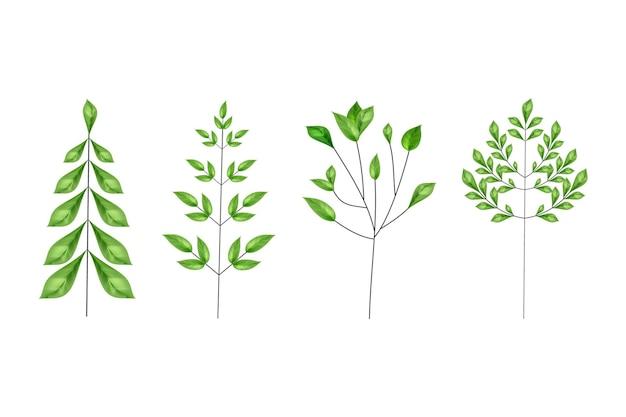 Composição de arte de linha com folhas realistas.