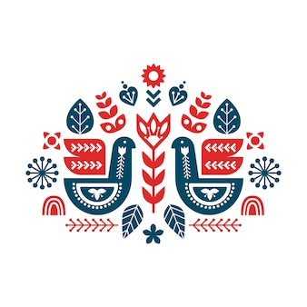 Composição de arte popular com pássaros e elementos decorativos.
