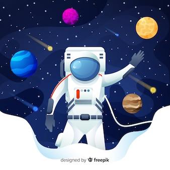 Composição de astronauta colorida com design plano