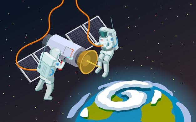 Composição de astronautas do espaço sideral
