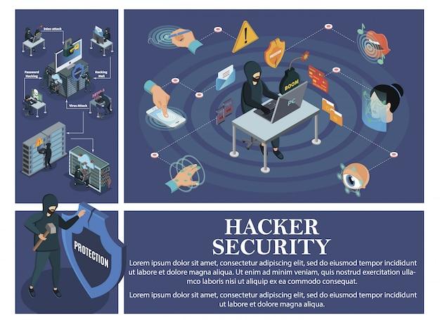 Composição de ataque de hacking isométrico com elementos de segurança de identificação biométrica e hackers quebrando servidores de nuvem de data centers de computadores pessoais